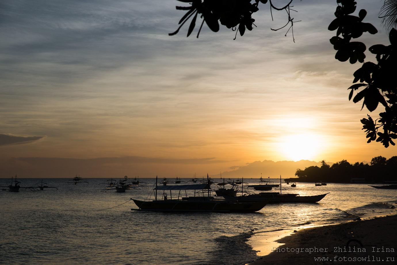 Алона Бич, Панглао, закат, Alona beach